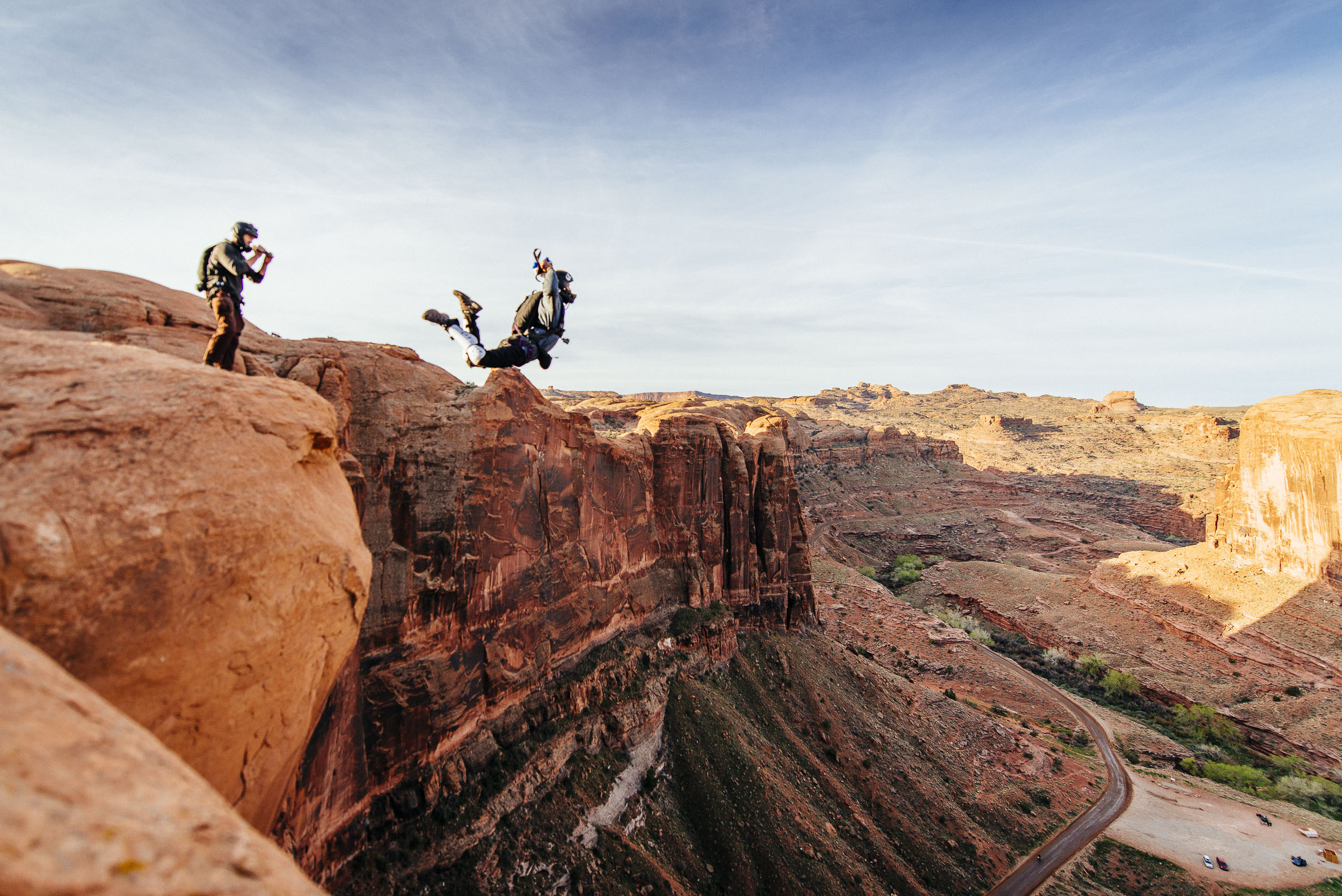 Mentor and Student BASE Jumping MOAB